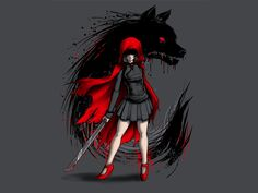 As you can see on the Red Revenge T-Shirt, Little Red Riding Hood has learned her lesson when it comes to being prepared while taking a stroll to Grandma's Red Riding Hood Wolf, Red Ridding Hood, Dark Fantasy Art, Dark Art, Kobra Tattoo, Cocoppa Wallpaper, Red Hood, Little Red, Werewolf