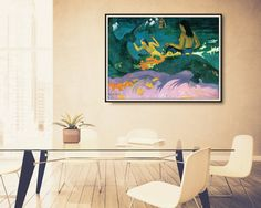 In this By The Sea abstract art print, is Paul Gauguins Fatata te Miti (By The Sea) featured as a reproduction giclee print. Soon after his arrival in the tropics, Gauguins style began to change subtly. He had relaxed his formal style somewhat and in this painting, the colors meet each other in easy curves and graceful abstract shapes. Gauguin continued to pursue his synthetic use of color--colors used for their own sake or as symbolic of an emotion or thought.  ABOUT THE MAKER: Eugène Henri…