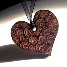Wood heart Necklace, Wooden Pendant Hand Carved with Lilac Wood Burning (Pyrography). Heart Pendant, Heart Jewelry, Heart Necklace, Purple