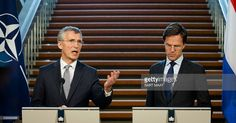 Secretary General Jens Stoltenberg (L), flanked by Dutch Prime Minister Mark Rutte (R), delivers a speech during a joint press conference after a meeting in The Hague, on June 9, 2016 ahead of the NATO Summit in Warsaw on 8 and 9 July. / AFP / ANP / Bart Maat / Netherlands OUT