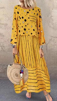 Shopping Fashion Loose Large Size Polka Dot Fake Two Pieces Dress online with high-quality and best prices Maxi Dresses at Luvyle. Trendy Dresses, Casual Dresses, Summer Dresses, Women's Maxi Dresses, Polka Dot Maxi Dresses, Women's Casual, Floral Dresses, Two Pieces Dress, Vintage Dresses Online