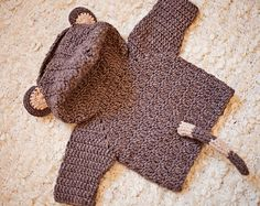 Crochet PATTERN - Monkey Hooded Cardigan (sizes baby up to 8 years) (English only) Crochet Baby Blanket Beginner, Crochet Baby Dress Pattern, Crochet Patterns, Hooded Cardigan, Baby Cardigan, Crochet Cardigan, Crochet For Boys, Double Crochet, Single Crochet