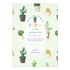MEXICAN Fiesta GRADUATION Invitations Cacti Custom - graduation gifts giftideas idea party celebration