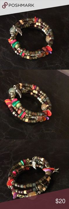 Brown wood bead silver colorful charm bracelet NWT Brown wood bead silver colorful charm bracelet NWT Jewelry Bracelets