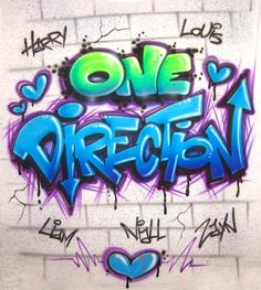 One Direction Airbrushed Graffiti Style Custom by AirbrushApparel, $24.99