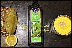 Zielone koktajle: ananas + sok z aloesu + cytryna + sezam