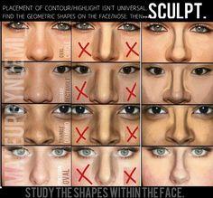 """Contorno em *U* não funciona para todo nariz. A terceira coluna é o correto modo de """"modelar"""" o nariz. Uso de tom/sombra = Progressão da cor."""