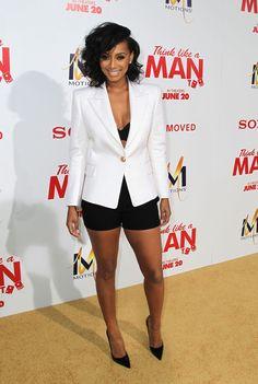 Keri Hilson white blazer with black shorts and heels