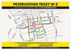 [Łódź] Mapa sugerowanych objazdów dla pojazdów indywidualnych na czas remontu Trasy W-Z w Łodzi
