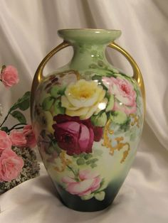 """""""ROMANTIC HAND PAINTED VICTORIAN ROSES"""" Absolutely Stunning Antique Limoges France Double Handled Vase Fine Unmarked French Porcelain One-of..."""
