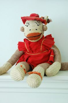 Vintage Sock Monkey in Her Sunday Best by SwellShopVintage