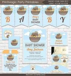 Noah's Ark Invitation and Decoration  Ark Baby by printmagic