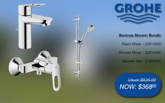 Grohe bauloop shower bundle basin & shower mixer, shower rail set @ SGD$368 (32814000, 32816000, 27395000) #grohe #bathroom #shower #taps #promotions #singapore Shower Mixer Taps, Bath Mixer, Shower Rail, Shower Set, Bathroom Gallery, Bath Taps, Bathroom Bath, Basin, Wind Turbine