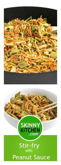 Skinny Stir-Fry with Peanut Sauce. It's a wonderfully tasty stir-fry, loaded with broccoli slaw, cabbage, chicken, veggies and a fabulous peanut sauce! Each serving, 330 calories, 19g fat & 8 SmartPoints. #glutenfree #dairyfree http://www.skinnykitchen.com/recipes/skinny-stir-fry-with-peanut-sauce/