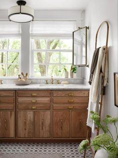 Living Room Flooring, Home Living Room, Fixer Upper Living Room, Rattan Light Fixture, White Oak Kitchen, Oak Bathroom, Bathroom Ideas, Bathroom Inspo, Bathroom Inspiration