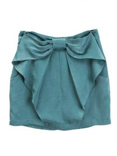 Green Bow Ruffles Polyester Skirts