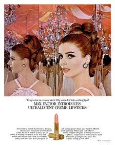 Max Factor - Hair and Makeup Artist Handbook 1960s Makeup, Vintage Makeup Ads, Vintage Beauty, Vintage Ads, Retro Ads, Vintage Glamour, Vintage Advertisements, Sixties Makeup, Kiss Makeup
