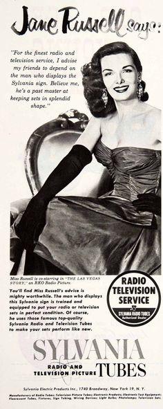 Jane Russell Sylvania Radio Television Service Tubes Ad Jane Russell RKO Radio 1952