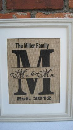 Burlap Monogram Burlap Wedding Art Image Initial by SunBeamSigns, $20.00
