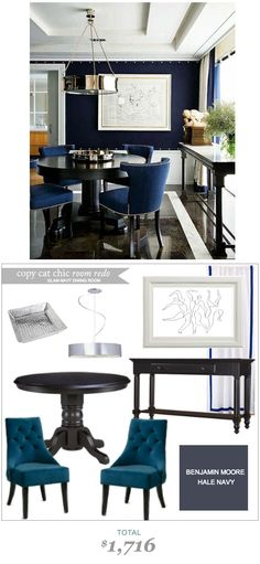 #CopyCatChicRoomRedo by #ErinGorbach | A Glam #Navy #DiningRoom for only $1,716