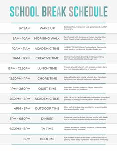 Kiddos out of school to help contain the spread of Keep their brains engaged during this extended period of time with this printable School Closure Schedule! Kids Summer Schedule, Daily Routine Kids, Daily Routine Schedule, Kids Schedule, Home School Schedule, Family Schedule, School Schedule Printable, School Routines, School Routine For Teens