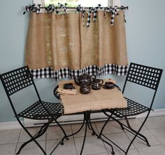 Burlap and Gingham Cafe Curtains on Etsy, $40.00