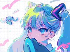 Vocaloid, Character Art, Character Design, Miku Chan, Snow Art, Pretty And Cute, Kawaii Anime, Cute Art, Insta Art