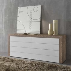 Contemporary dresser Comò Cloud with honeycomb structure 80 mm, 45°-assembled, front drawers with push-pull full extension.