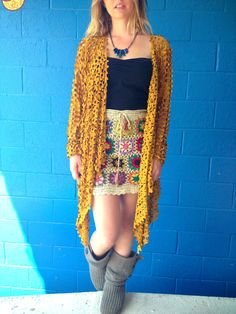 Suede Sweater, crochet skirt, fire quartz necklace