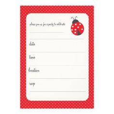 Polka dots and ladybug birthday party invitation