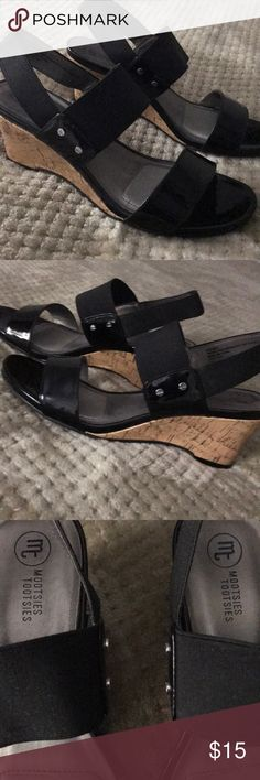 """Super Cute Mootsies Tootsies! Mootsies Tootsies Black Wedge Size 9M Cork Wedge Sandals. Excellent Condition. Comfort Elastic around heel and lower part of foot. Heel approx 2 3/4"""". These sandals really are super cute and are perfect for summer! Mootsies Tootsies Shoes Sandals"""