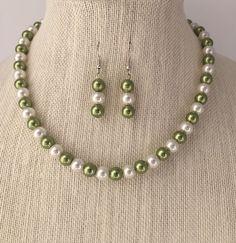 Sage Green Pearl Necklace Sage Green Bridal Jewelry Set Sage. CherishedJewelryCo