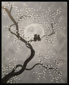 Title: Moonlight is so Bright  Artist: Nathalie Van  Date: 2012  Black and White Paintings Mini Collection