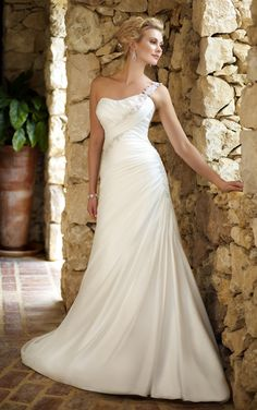 Simple A-line One Shoulder Lace Ruching Sweep/Brush Train Chiffon Wedding Dresses