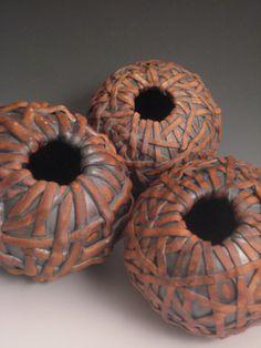 $565-Set of Three Nested Ceramic Vases via Etsy