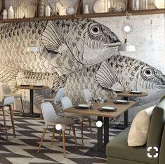 cafe restaurant Memphis Design, Inspiration, I - Restaurant Design, Deco Restaurant, Architecture Restaurant, Restaurant Facade, Restaurant Ideas, Restaurant Interiors, Restaurant Fish, Restaurant Concept, Commercial Architecture