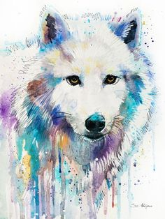 Arctic Wolf Art Print by Slaveika Aladjova Watercolor Wolf, Watercolor Animals, Watercolor Portraits, Watercolor Paintings, Watercolor Drawing, Animal Paintings, Animal Drawings, Cool Drawings, Horse Drawings