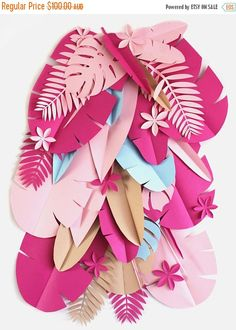 ON SALE 20%OFF Tropical Party Backdrop  Safari paper flowers