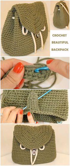 50 ideas basket crochet tutorial trapillo for 2019 Crochet Backpack Pattern, Bag Crochet, Crochet Shell Stitch, Crochet Handbags, Crochet Purses, Crochet Crafts, Crochet Bag Tutorials, Easy Crochet Patterns, Crochet For Beginners