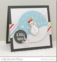 Christmas Cuteness stamp set and Die-namics, Plaid Background Builder, Circle STAX Set 2 Die-namics, Let It Snowflake Die-namics, Stitched Circle STAX Die-namics, Stitched Snow Drifts Die-namics, Herringbone Bricks Stencil - Barbara Anders #mftstamps