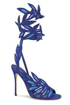 Sandalias azules con tiras en forma de hoja, de Sergio Rossi