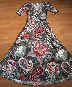 Lularoe ANA Dress Gray Red Black Large Paisley Print Sz S | eBay