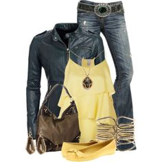 Lovin' Leather... @Amber Killion  here ya go:) I know yellow is your favorite color and you like the western belts!!!! This set would be super cute!