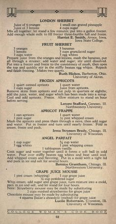 The college woman's cook book Retro Recipes, Old Recipes, Vintage Recipes, Cookbook Recipes, Fruit Recipes, Dessert Recipes, Cooking Recipes, 1950s Recipes, Fruit Dessert