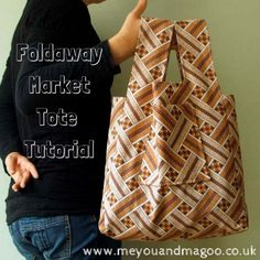 sewing tutorial for vintage fabric foldaway market tote