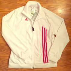 NWT Adidas white & red England soccer jacket NWT Adidas women's white & red England soccer jacket. Full zip, 100% polyester. Size large. ❤️NO TRADES. Offers welcome via offer button.❤️ Adidas Jackets & Coats