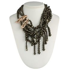 Alexis Bittar necklace: ROSE GOLD LARGE BLACK PEARL, PYRITE, & SMOKY QUARTZ CASCADING NECKLACE