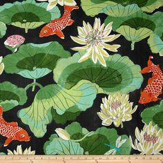 Amazon.com: Waverly Lotus Lake Ebony Fabric