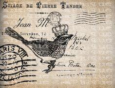 Antique Postcard Fancy French Paris Crown Bird Illustration Digital Download for Papercrafts, Transfer, Pillows, etc No 3321