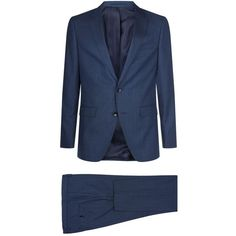 Hugo Boss Slim-Fit Micro Check Suit ($790) ❤ liked on Polyvore featuring men's fashion, men's clothing, men's suits, structure men's clothing, mens slim cut suits, mens wool suits, men's 2 piece suits and checked mens suits